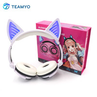 Teamyo Cat Ears Earphone Headphones Bluetooth Wireless Stereo Headset Headband Cosplay Earbuds glowing headset for Mobile Phone
