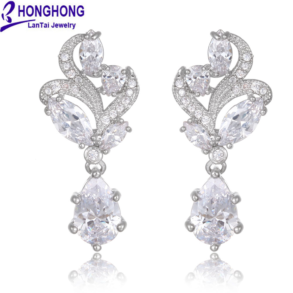 HONGHONG 2017 Cubic zirconia stud Earrings for women hot sell Trend Flower type fashion Jewelry earrings for party girl