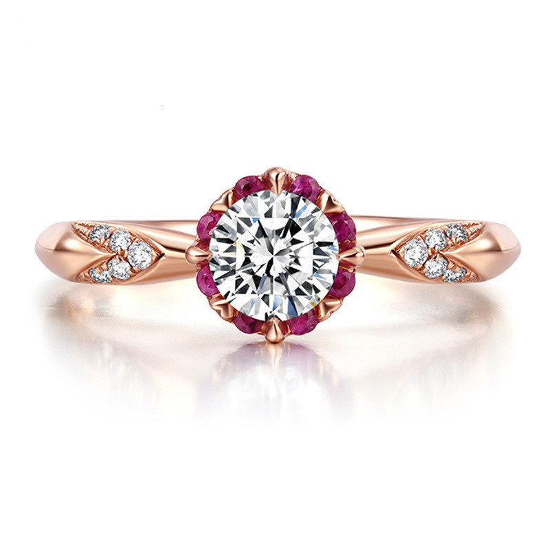 Engagement Ring Women Cubic Zirconia Brilliant Round Cut Anniversary Ring Gift Genuine 925 Sterling Silver Ring Rose Gold Color