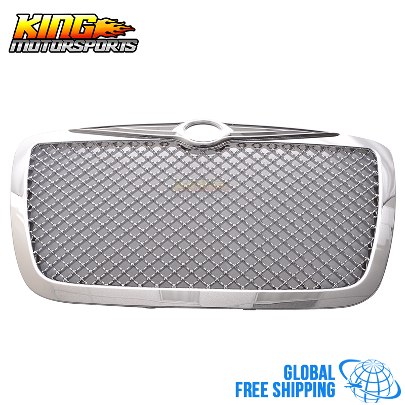 Fits 05-10 <font><b>Chrysler</b></font> 300 <font><b>300C</b></font> Mesh Style Front Grille Grill With B logo Chrome Global Free Shipping Worldwide image