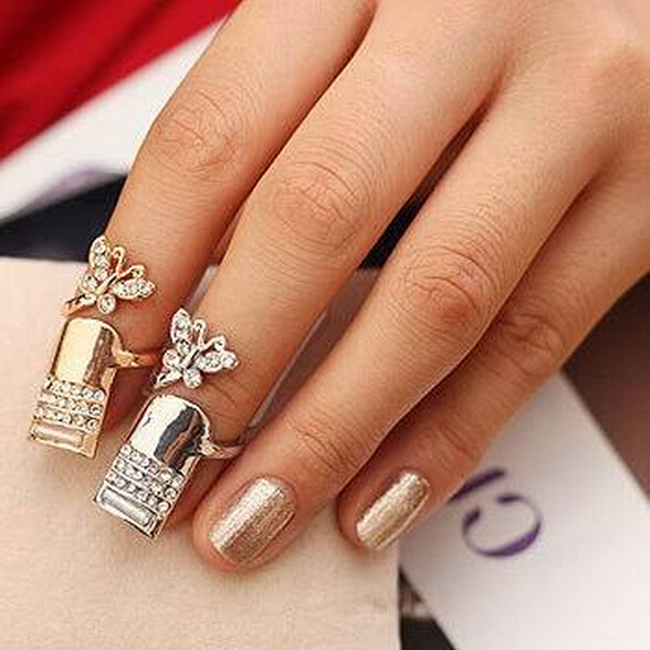 Hot Sall Nice Nails Jewelry Charm Women Crystal Fly Butterfly Fake ...