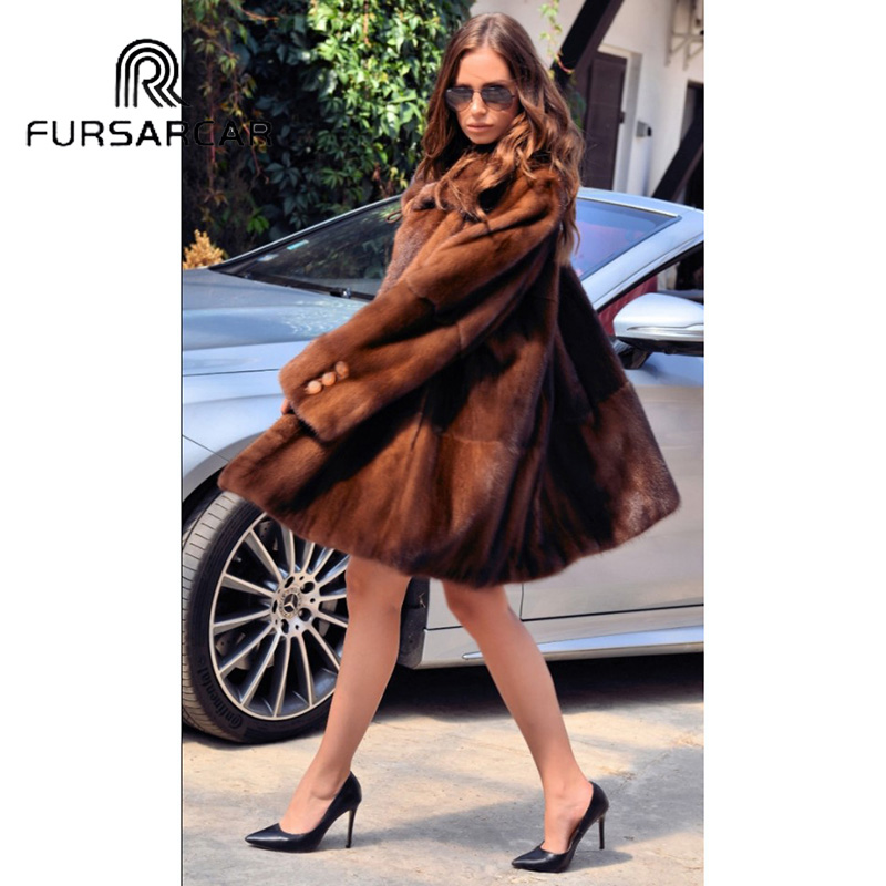 FURSARCAR Women Real Fur Coat With Turn down Fur Collar Fashion New Style Natural Mink Fur Female Coat Luxury Winter Fur Coat in Real Fur from Women 39 s Clothing