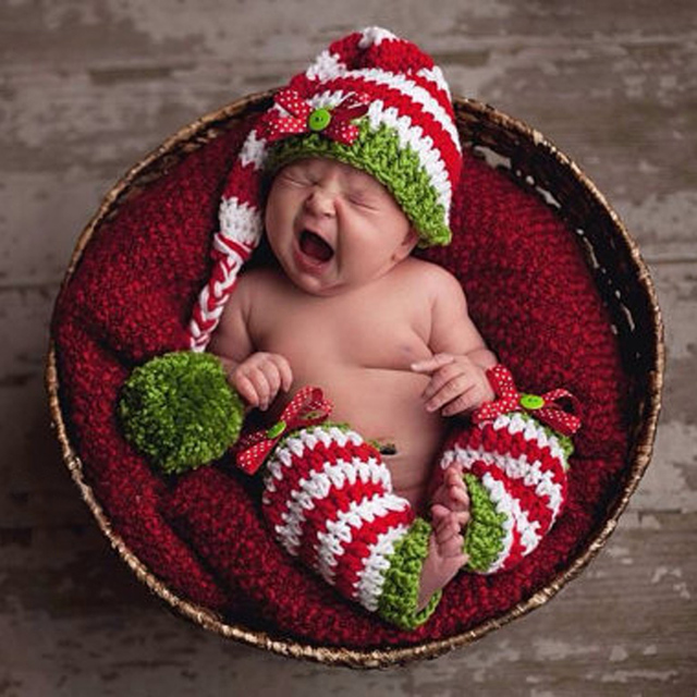 52cd7775ab0 Newborn Baby Photography Props Cute Baby Girls Boy Crochet Knit Wool Red  Green Hat+Legging Costume New Year Baby Hat Photo Props