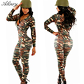 2017 new arrival Spring Autumn sexy Rompers Camouflage Soldier Cosplay uniforms Long sleeves Package hip slim Women Bodysuit