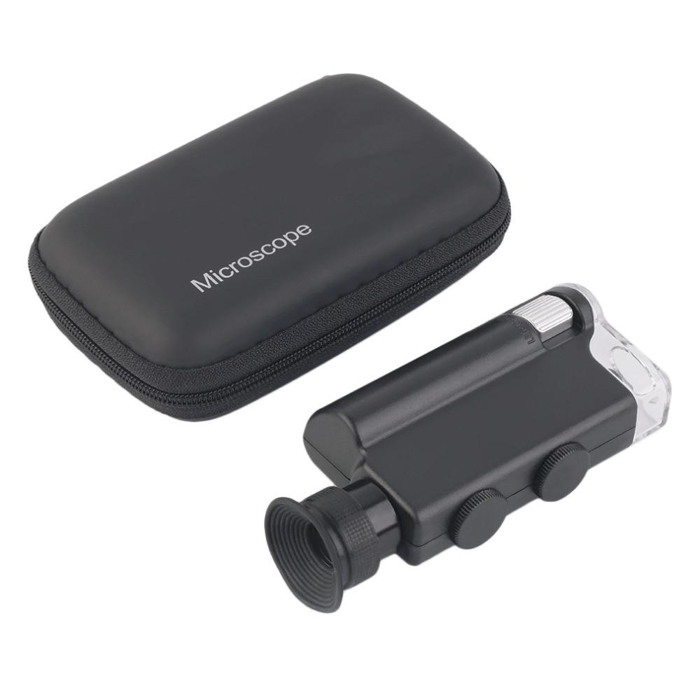 2018 NEW Mini Portable Microscope Pocket 200X~240X Handheld LED Lamp Light Loupe Zoom Magnifier Magnifying Glass Pocket Lens