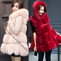Aelorxin Winter Faux Fur Coat Women Warm Jacket Long Sleeve Female Chic Outerwear Jacket And Vest