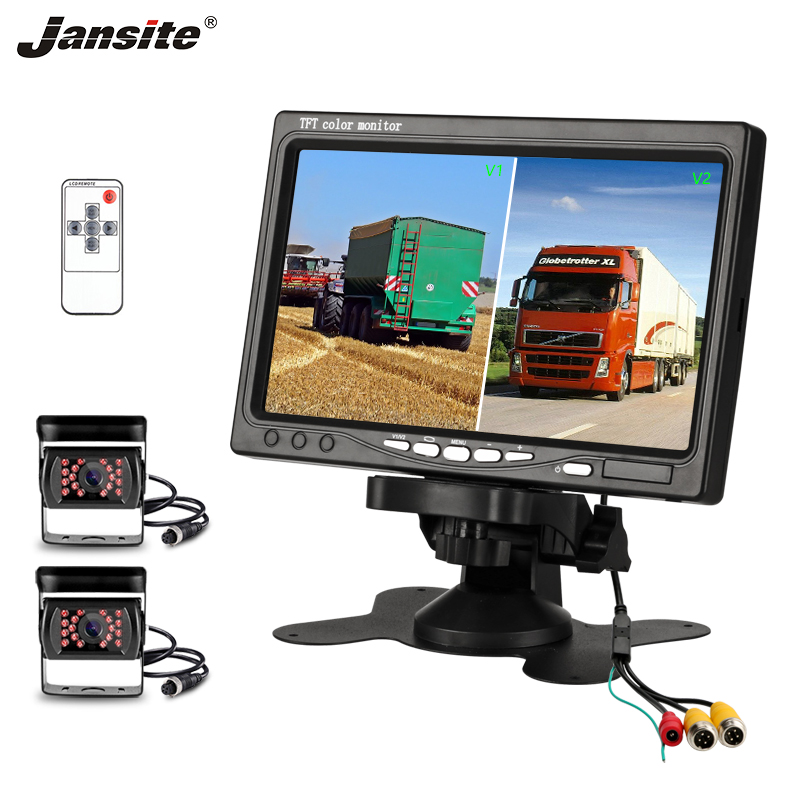 Jansite 7 quot Car Monitor 2 channel video input Aviation head camera Reverse Assistance Camera Paking System 18IR LED camera monitor in Car Monitors from Automobiles amp Motorcycles