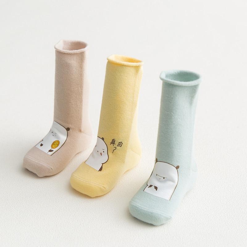 3 пар Детские носки для новорожденных чесаный хлопковые носки Four Seasons универсальный милый мультфильм мальчиков и девочек короткие носки 0-12 ...