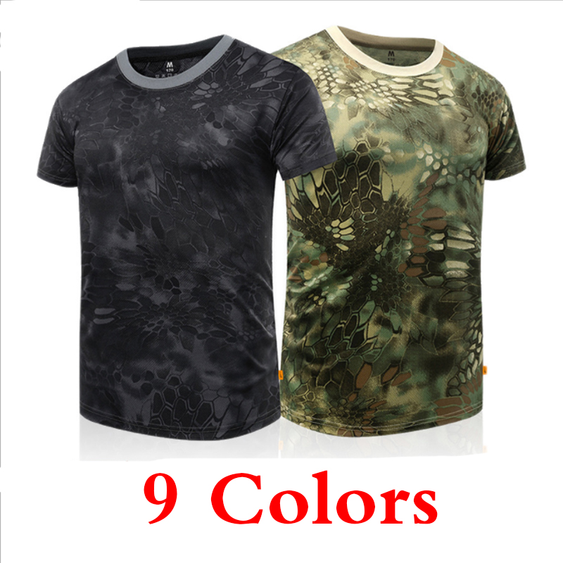 Uomini Military Tactical T Shirt Estate Camouflage T-shirt Caccia Army Training Combattimento Traspirante Top Da Trekking Sport T-shirt