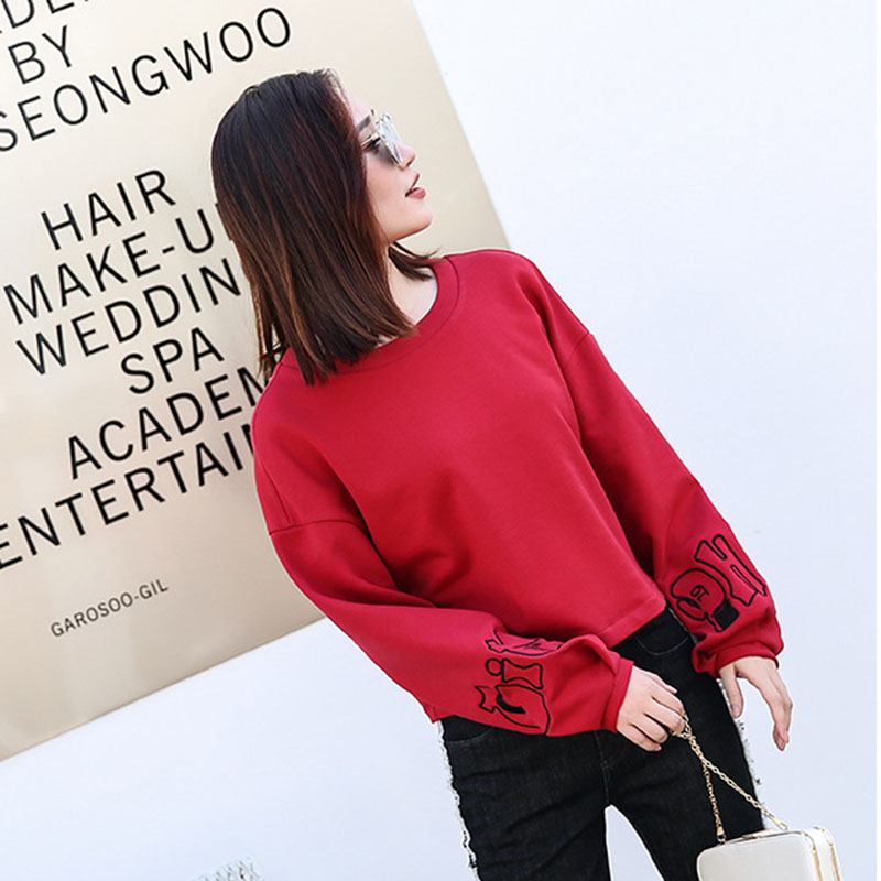 2018 Autumn Fashion New pure color Loose Women Pullovers Round neck lantern Sleeve Comfortable Female Hoodies& Sweatshirts ll718