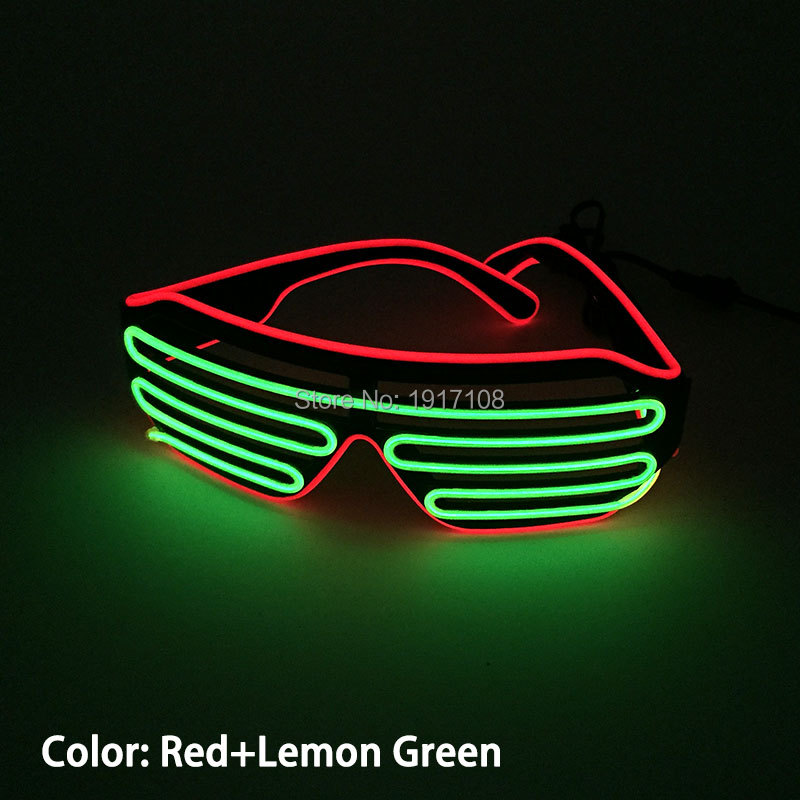 New 16 style 2 colors Light Up EL Wire EL Glasses LED Glasses Neon Light By DC-3V Steady on Driver for Party Decoration ...