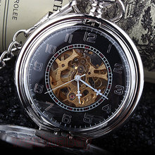 Fashion Phoenix Wing Hollow Silver Case Black Dial Skeleton Automatic Mechanical Men Women Pocket Watch FOB Chain Gift P380