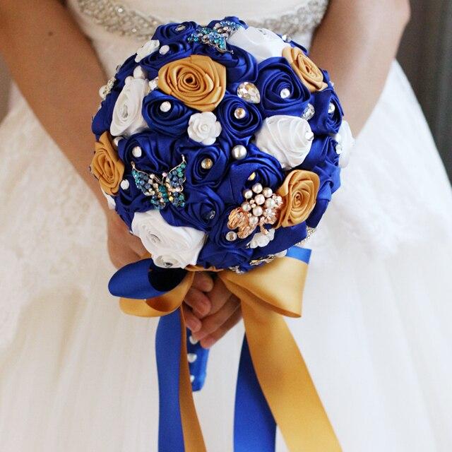 Midnight Blue Brooch Bouquet Silk Rose Bride Bridal Wedding Bridesmaid Multicolor Various Colors Cloth Roses Bouquets 7