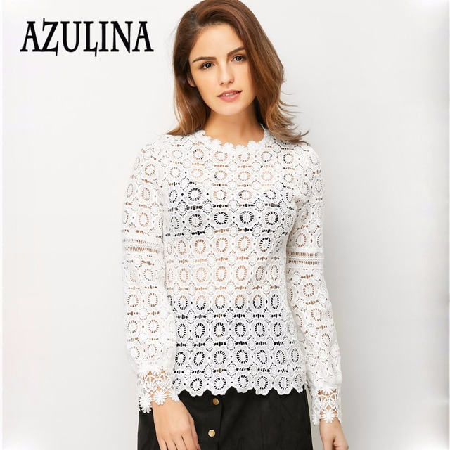 AZULINA Elegant floral lace blouse shirt Women lantern Long sleeve Black blouse Autumn Spring hollow out short top Casual blusas