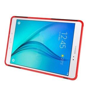 Image 4 - Support hybride dur Silicone caoutchouc armure étui pour samsung Galaxy Tab A 9.7 T555 T550 SM T555 SM P550 couvercle anti chocs + film + stylo