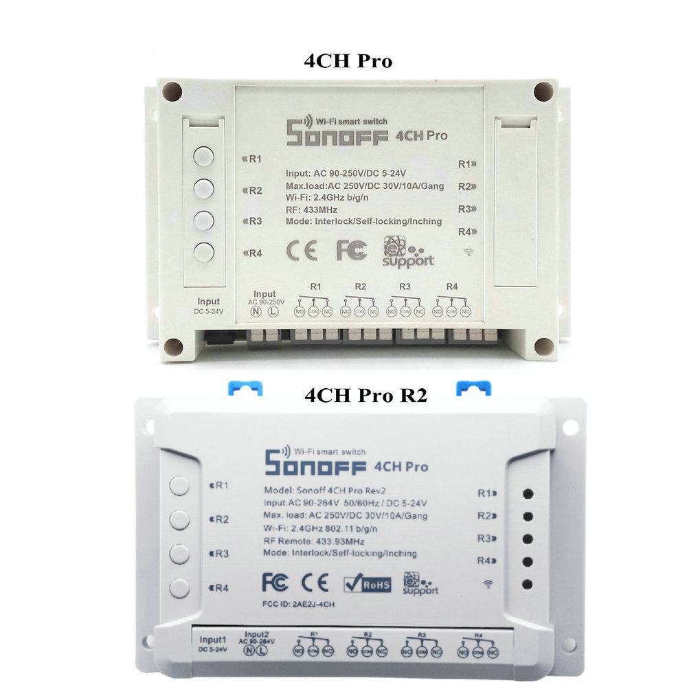 SONOFF 4 Channels Pro - Smart WiFi and RF 433 Mhz blinds and lights switch   Google Home and Alexa compatible