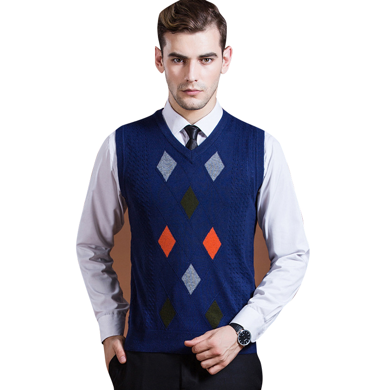 2017 new arrival autumn&winter men wool sweater vest knitting solid color male tidal diamond jacquard with comfortable style