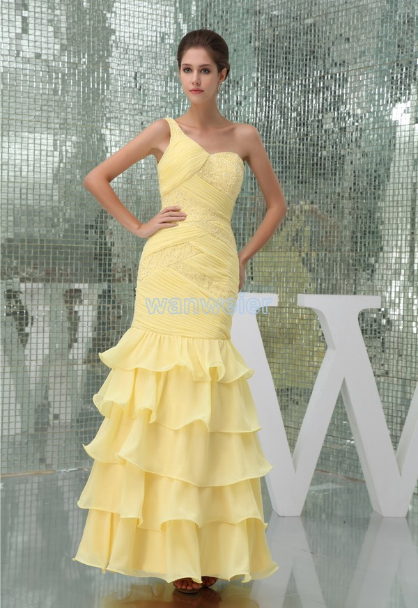 vestidos de festa free shipping evening gown 2015 new design beading one shoulder ruffles yellow mermaid long   prom     dresses