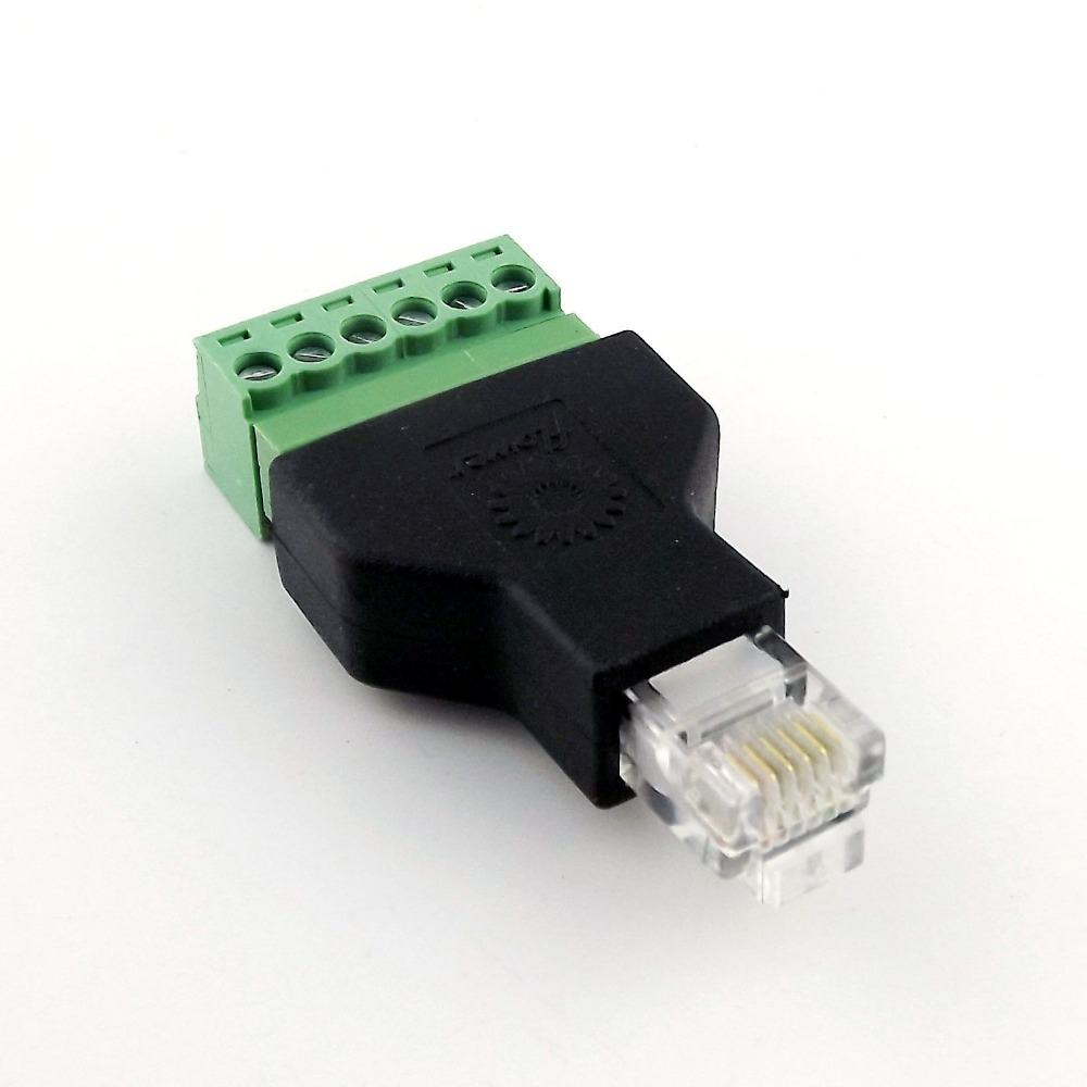 1x Ethernet 6P6C RJ12 Male Plug Modular 6Pin Screw Terminal Connector Adapter Phone Line Adapter
