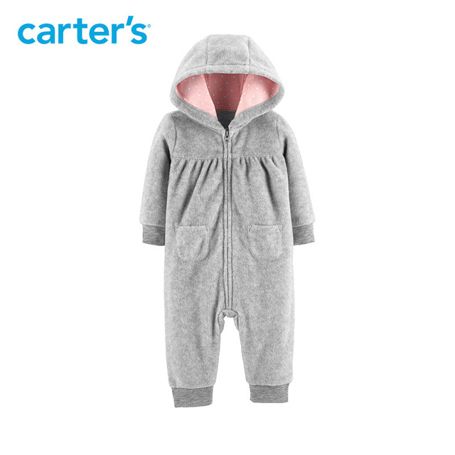 51cfee679c6a Carters baby girl rompers Koala Hooded Fleece Jumpsuit Grey long ...
