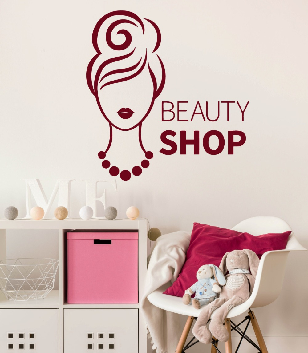 Fashion Woman Wall Decal Beauty Shop Interior Vinyl Wall Stickers Removable Art Mural DIY Decor Modern Design Girl Decals SYY924 in Wall Stickers from Home Garden