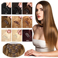 Brazilian Virgin Hair Clip In Human Hair Extensions 7pcs/8pcs Full Head Set Febay Hair Clips Aplique Tic Tac Cabelo Humano