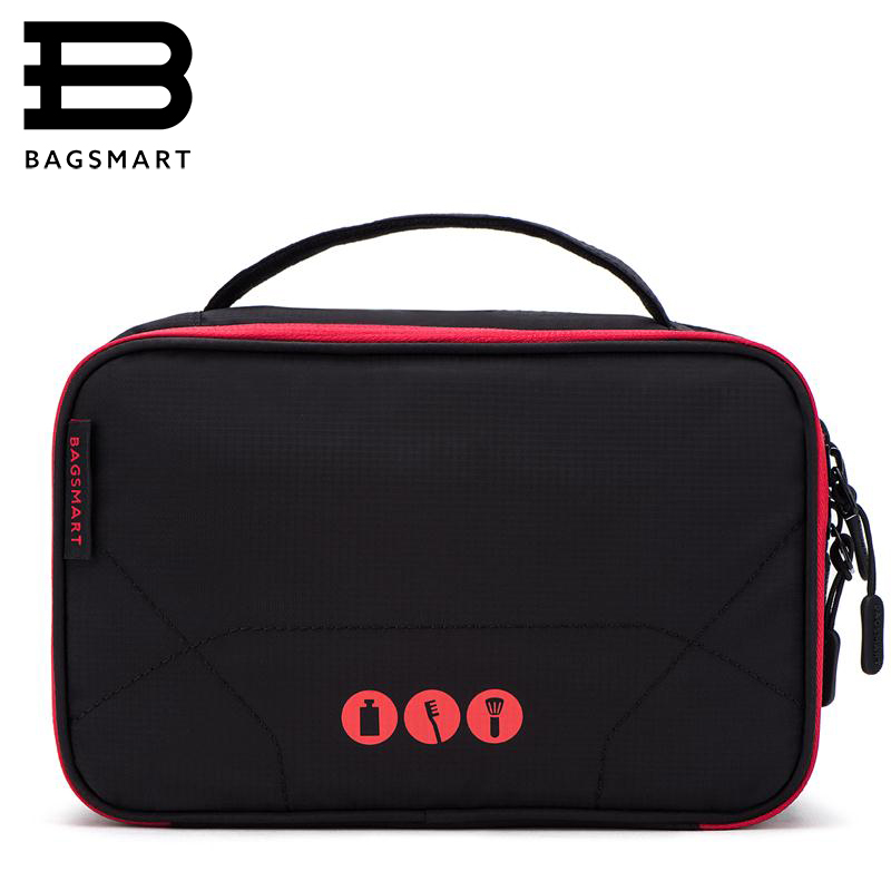 BAGSMART Women Large Waterproof Makeup Bag Men Nylon Travel Cosmetic Bag Organizer Case Necessaries Make Up Wash Toiletry Bag ttou fashion barrel shaped cosmetic bag trip beauty women travel toiletry kit make up makeup case bag wash bags organizer