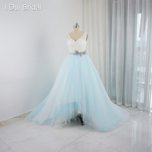 Short Front Long Back Pool Blue Wedding Dresses Lace Top Tulle Layer