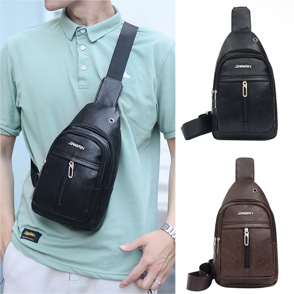 2019 Fashion Men Casual  Sports Shoulder Bag Solid Color Messenger Bag Pocket Chest Purse Bags