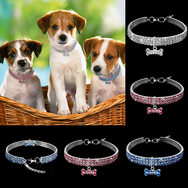 Exquisite Bling Crystal Dog Collar Diamond Puppy Pet Shiny Full Rhinestone Necklace Collar Collars for Pet Little Dogs Supplies 4