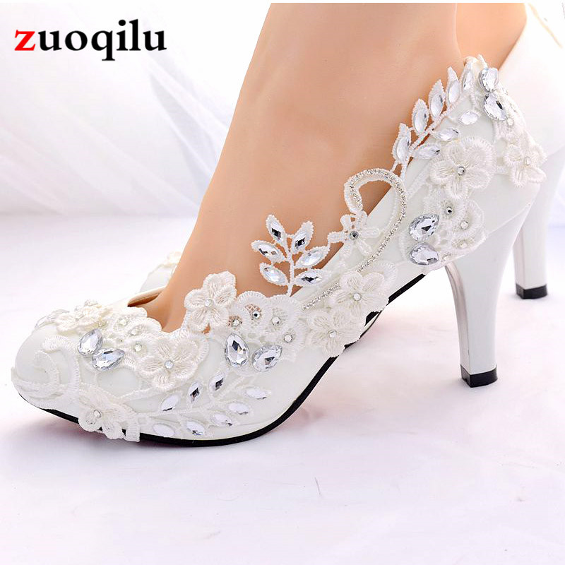 Crystal White Wedding Shoes Bride Female High Heels Shoes Woman