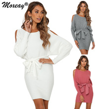 цены Moxeay Women Knit Sweater Dress Long Sleeve Cold Shoulder Batwing Sleeve Sweater Spring Autumn Package Hip Dress Knitted Sweater