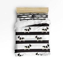 Classic Stripes Cute Bulldog 3D Bedding Set 4pcs Bedclothes Queen/Twin/King Size Bedding Sets Duvet Cover Housse De Couette Kids