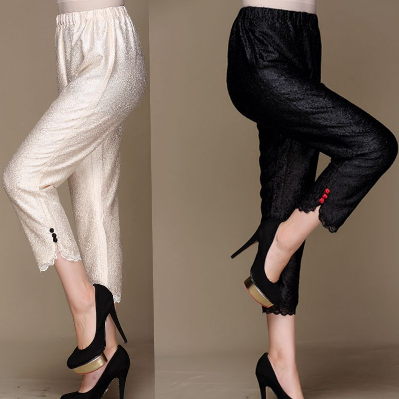 FREE SHIPPING  pleated pencil pants   lace capris  elastic waist female trousers IN STOCK