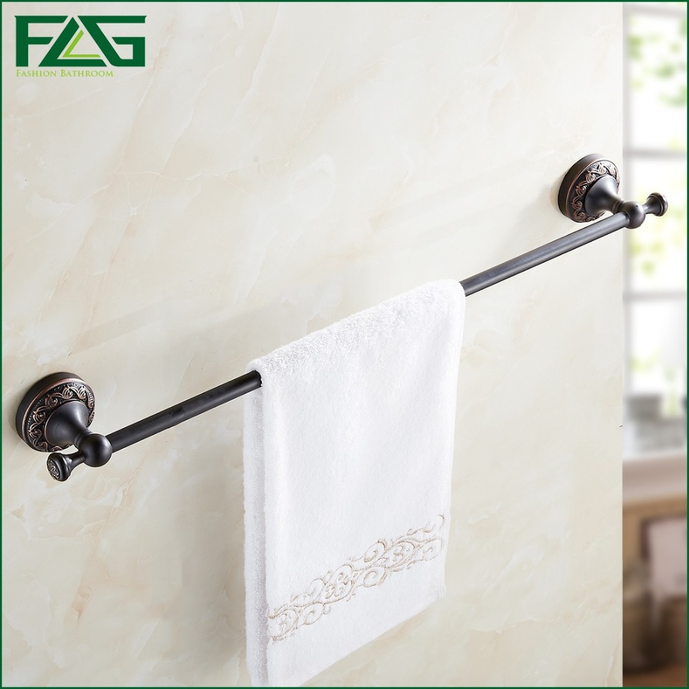 FLG Free Shipping Single Towel Bar Towel Holder Towel Rack Solid Brass Oil Rubbed Bronze Black Color Bathroom Accessories 91308 free ship beauty oil rubbed bronze bath towel rings soild brass towel bracket