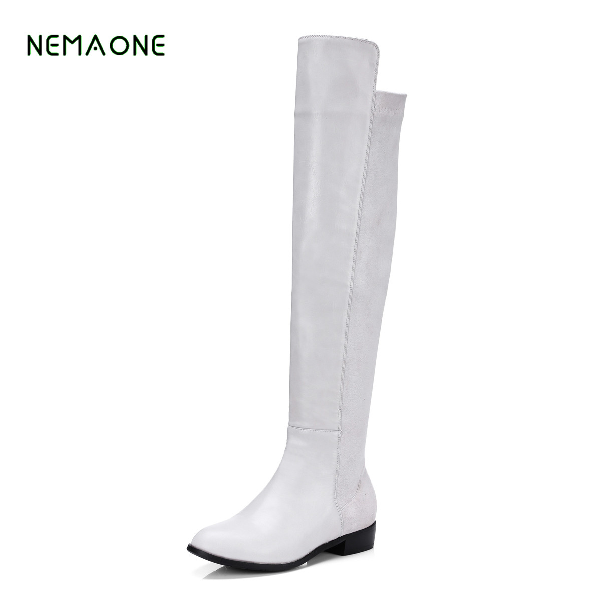NEMAONE women stretch Faux Suede slim over the knee boots sexy pointed toe low-heel lace-up thigh high boots woman