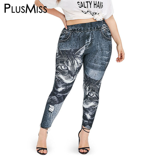 PlusMiss Plus Size XXXXXL Cat Imitation Jeans Denim Print Leggings Women Clothing Big Size Jeggings Leggins XXXXL XXXL Legins