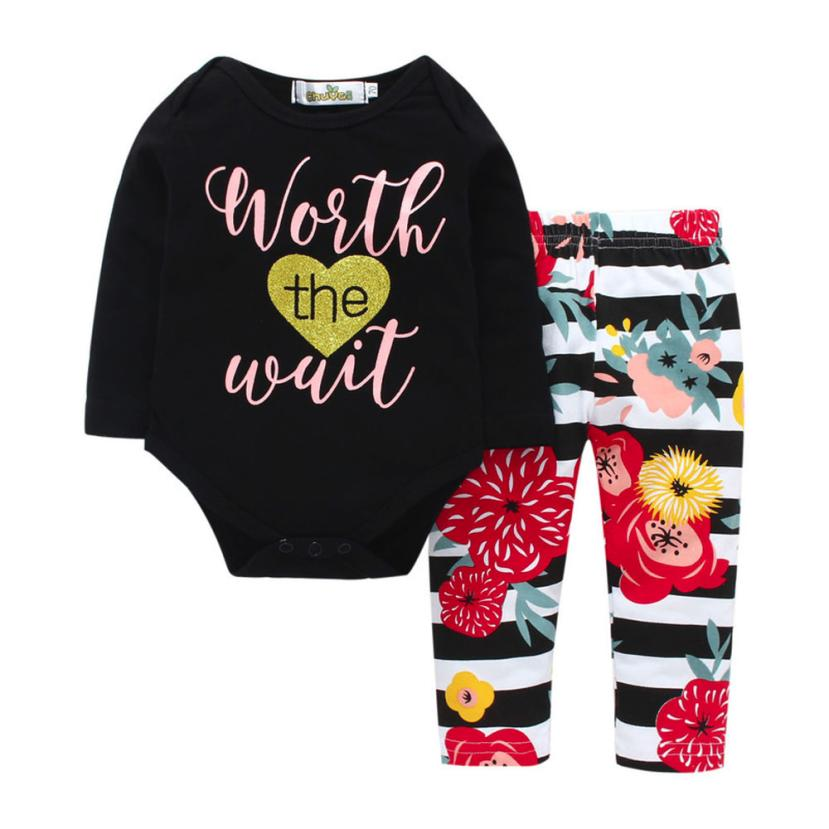 2018 Hot Sale Newborn Toddler Infant Baby Letter Floral Print Romper Top+Pants Outfits Clothes Comfortable And Breathable 6.13