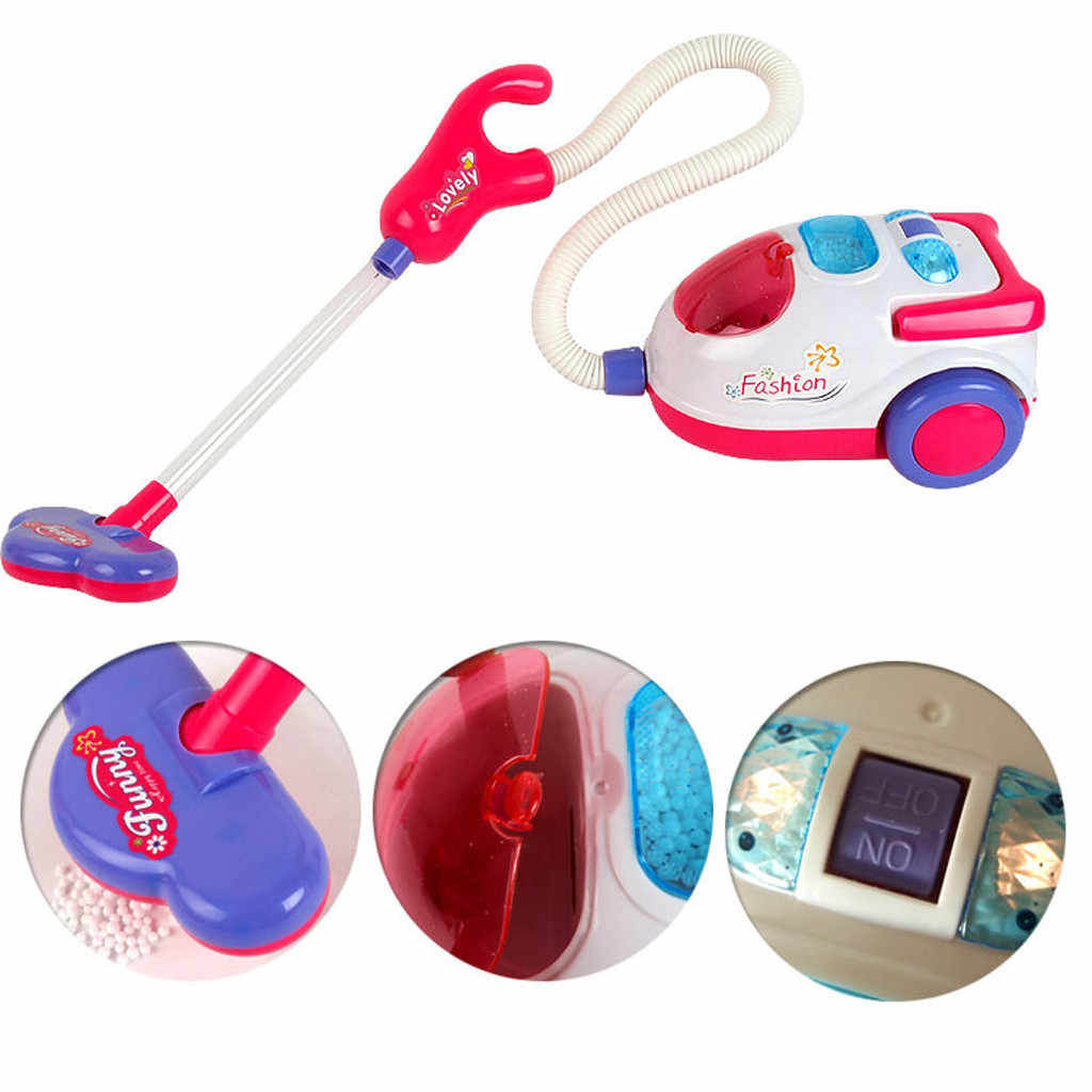 Vacuum Cleaner for Kids Role Hoover Fun Realistic Toy Pink with Light Sound Play Lemoning Toys for Girls Boys Home Game