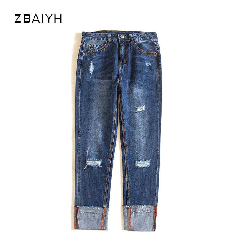 High Quality Classic Mom jeans woman Holes Trousers Female Vintage Curling Straight ripped jeans for women Autumn Denim Pants