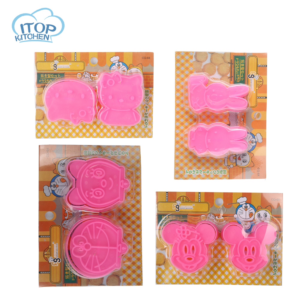 ITOP 4pcs/lot Hello Kitty cat cookie fondant cutter tools 3D cake mould mold biscuit DIY press stamp Mickey Doraemon