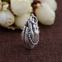 BESTLYBUY Genuine 925 Silver Buddha Pendant Double Hand 100% Pure S925 Solid Thai Silver Pendants for Women Men Jewelry Making