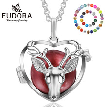Eudora Copper 20mm Harmony Bola Ball Christmas Deer Locket Cage Pendant fit Chime Animal Necklace Jeweley For Women K213N20