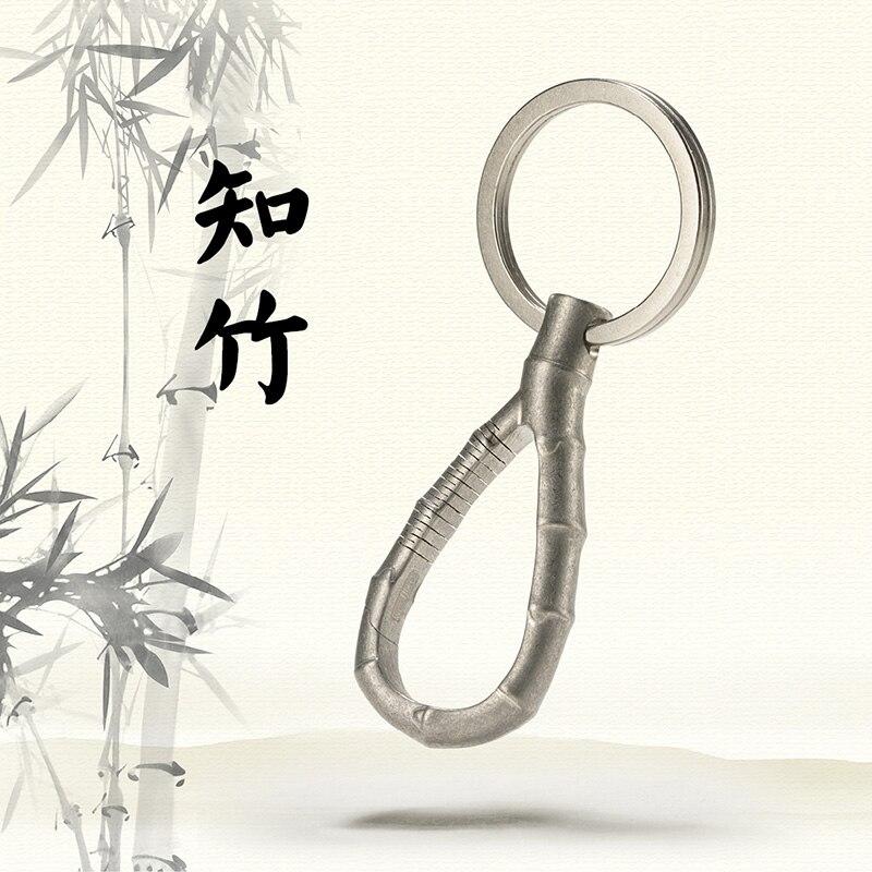 LLavero de titanio de lujo para coche de bambú superinsignia de titanio llaveros Top exquisito hecho a mano para llaveros hombres mujeres mejor regalo - 6