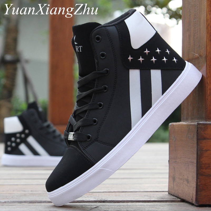 Mens Casual Shoes Leather Lace Up High-top Shoes Man Hip-hop Trainers Men Sneakers Breathable Fashion Superstar Adult Male Shoes image