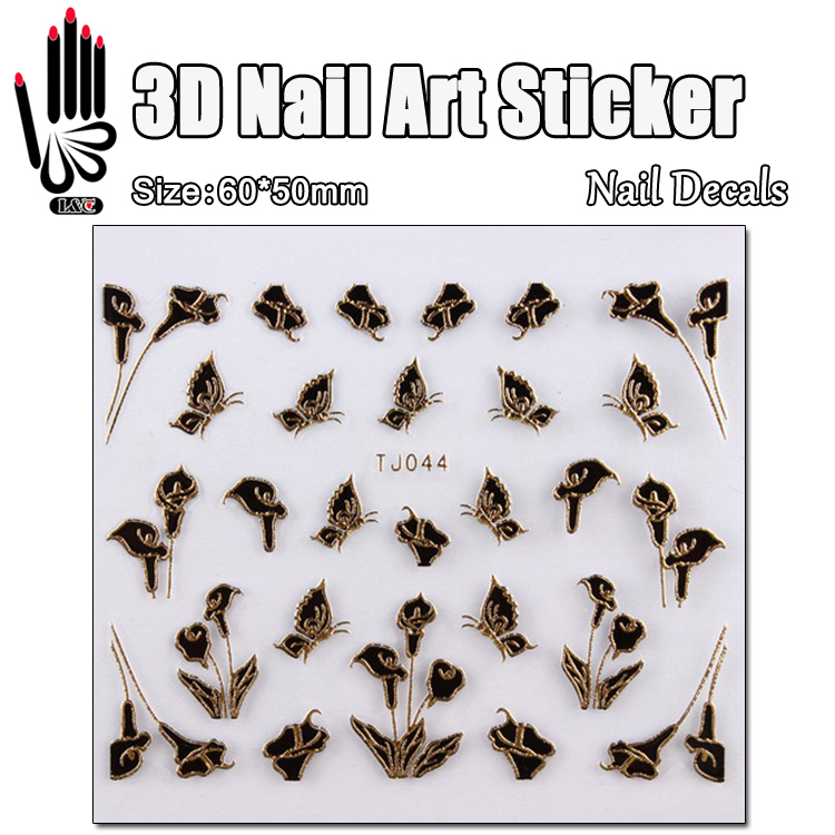 1 Sheet Stickers For Nail Design TJ044 3D Black Flower Nail Art Transfer Sticker Decal For Nail Sticker Art Decoration flower bridge river pattern 3d wall art sticker