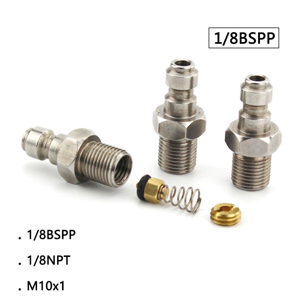 PCP Airforce Paintball Pneumatic Quick Coupler 8MM 1/8BSPP 1/8NPT M10x1 Male Plug Adapter Fittings Stainless Steel 3pcs/lot