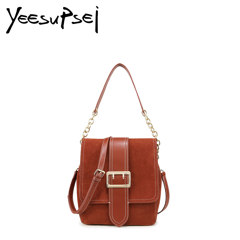 YeeSupSei High Quality Women Chain Bag Mini Messenger Bag Genuine Suede Leather Women Shoulder Bag Vintage Small Square Flap Bag yeesupsei daily bag women leather handbag golden chain small women messenger bag candy color women shoulder bag party lock purse