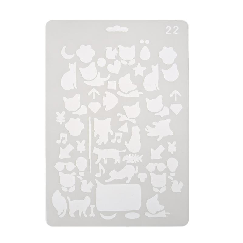Cute Cat Drawing Template Ruler Hollow Drafting Ruler Stamp Stencil Kids Student DIY Crafts Photo Album Drawing Painting Tools