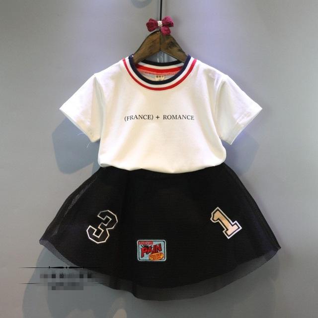 Ropa infantil para niñas chándal francia estilo lettle t shirt tutu trajes de falda 2 unids ropa de las muchachas niños muchacha del béisbol traje